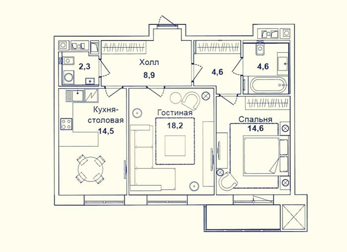 russian apartment  typical floorplan